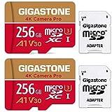 【5年保証 】Gigastone 256GB マイクロSDカード A1 V30 2pack 2個セット Ultra HD 4K ビデオ録画 高速4Kゲーム Nintendo Switch 動作確認済 100MB/s マイクロ SDXC UHS-I U3 C10 Class 10 micro sd カード SD 変換アダプタ付