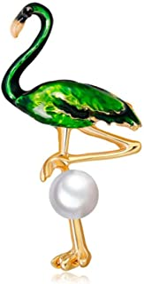 N/W Flamingo Green Bird Brooch Pins Animal Jewelry Enamel Pearl Pins and Brooches for Women Girls