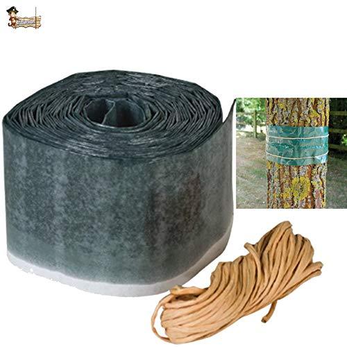 BricoLoco Protección insecticida árboles. Banda Libre de Veneno. Protege contra Insectos, orugas, Hormigas, procesionarias, arañas… Frutales y Ornamentales. (1 ud. x 175x10 cms.)