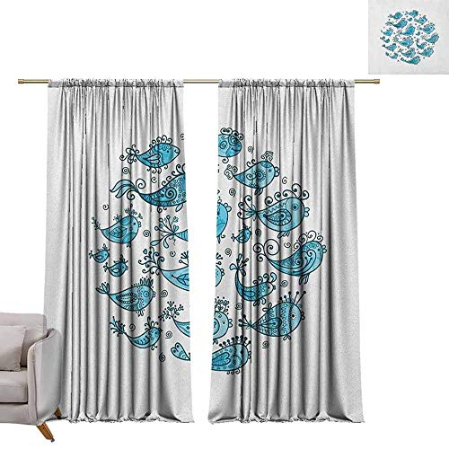 Tr.G gordijnen voor slaapkamer Isolerende kamer Darkening Blackout Drapes Fish,Illustrated Marine Aquarium Vissen met het gezicht van een vogel hand getrokken Gedroogde Rose Paars Dimgrey