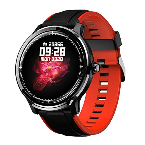 GOKOO Bluetooth Smartwatch Hombre Reloj Inteligente Impermeable IP68 Pulsera Actividad Monitor de Sueño Calorías Podómetro Pulsómetro Notificación de Llamada y Mensaje para Android y iOS (Negro Rojo)