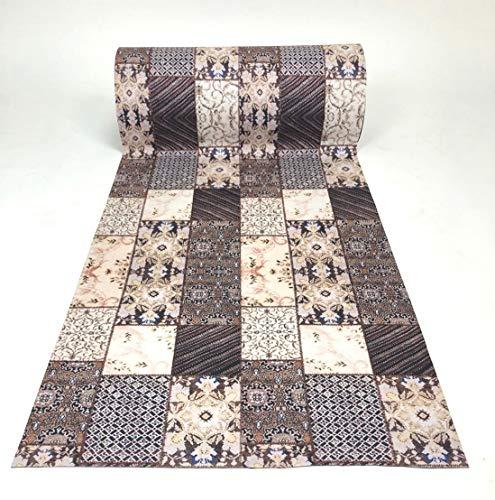 De'Carpet PASILLERA A Medida Textil Alfombra Lavable Antideslizante Alfombra Collage (65cm Ancho) (2 Metros)