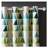 Cortinas Opacas 1 panel cortinas verdes, grommet Top Triangle Window Cortinas, Geometría cortinas apagones para la habitación de los niños Cortina para Ventana ( Color : A , Size : Tab Top )