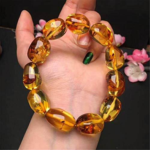 Natural Yellow Flower Amber Gemstone 21×15.7mm Crystal Clear Bead Woman Lady Stretch Bracelet AAAAA