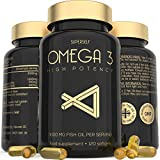 Fish Oil Omega 3 Capsules - High Strength 3000mg - 120 Easy to