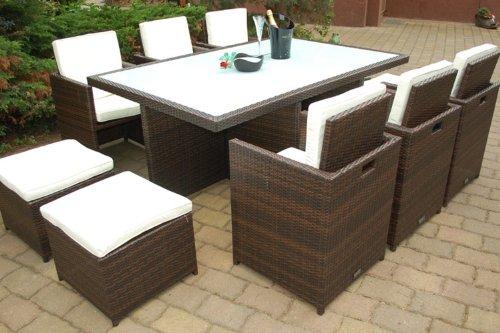 Ragnarök-Möbeldesign PolyRattan Essgruppe DEUTSCHE Marke - EIGNENE Produktion Tisch + 6 Stuhl & 4 Hocker - 8 Jahre GARANTIE - Garten Möbel incl. Glas und Sitzkissen braun Gartenmöbel