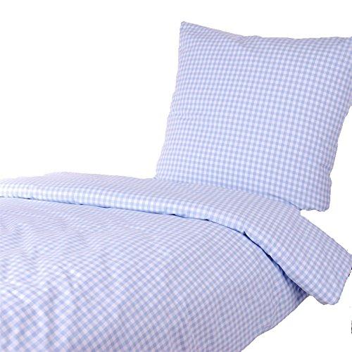 Hans-Textil-Shop Bettwäsche 135x200 80x80 cm Vichy Karo 1x1 cm Hellblau Baumwolle - Kariert mit Karomuster im Landhaus Stil
