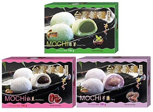 yoaxia ® - Mochi 3 verschiedene Klebreiskuchen Grüner-Tee- /Rote Bohnen-/ Taro-Geschmack je 1x180g + ein kleines Glückspüppchen - Holzpüppchen