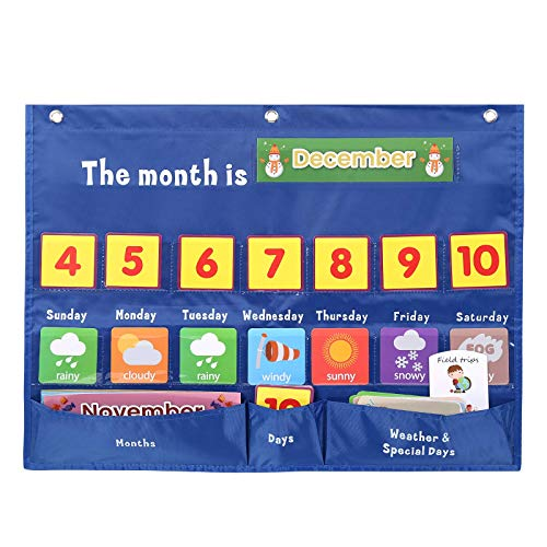 Sisenny Weekly Calendar with Weather Pocket Chart Elementary for Classroom Home,98 Bright Cards Included,Learning Pocket Chart Calendar for Kids Toddlers