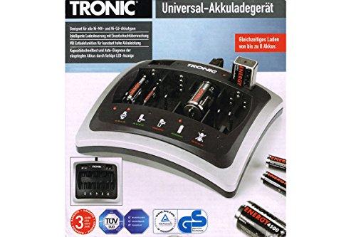 Tronic universal cargador de batería AAA AA C D de 9V Función de descarga indicador LED