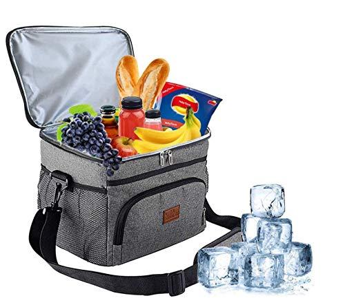 HebyTinco 15L Lunchtasche Isolierte für Damen Herren, auslaufsichere Wiederverwendbare Kühltasche Picknicktasche mit Verstellbarer Schulterriemen, Camping, BBQ, Wandern (Gray)