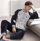 DFDLNL Conjuntos de Pijamas de Invierno para Parejas de 3 Capas, Chaqueta Acolchada para Mujer, Pijama Acolchado de Terciopelo Coral, Traje de Franela cálido Grueso para Hombre XL SJ9908men