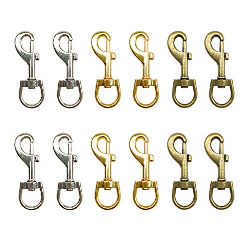 12 PCS Mini Dog Leash Clasp Swivel Snap Hooks,Wholesale Metal Heavy Duty Eye Clasp Multipurpose- Best for Spring Pet Buckle, Key Chain for Linking Dog Leash Collar, DIY Project