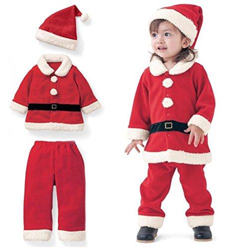 Christmas Costume Toddler Boys Girls Fleece Santa Claus Tops Coats+Pants+Cap Set Size 2-3Years/Tag100 (Red)