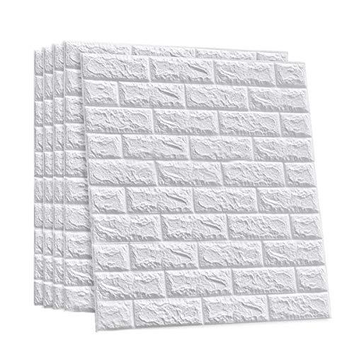 ZhHOME 3D Wallpaper Mattoni 10PCS Pannello 77x70cm Mattoni Bianco Carta Parati PVC Mattoncini 3D Adesiva Adesivi Murali Murale Stickers Muro Lavabile Verniciabile (Size : 10pcs)