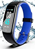 SIKADEER Fitness Tracker, Activity Tracker Watch with Blood Pressure Heart Rate Monitor, IP68 Waterproof Smart Watch with Step Counter, Calorie Counter, Sleep Monitor, Call & SMS (Black Blue)