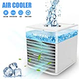 ZKU Portable Air Conditioner, Charging 3 in 1 Mini air Cooler Portable Small air Conditioner Air-Conditioning,120°Auto Oscillation, Perfect for Office Desk, Dorm, Bedroom and Outdoors - White