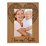 I Love my Auntie Picture Frame, Best Aunt Ever, Engraved Natural Wood Picture Frame (4x6 - Vertical)