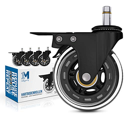 1M – 5er Set Hartboden Rollen mit Bremse – 11x22mm – für Bürostuhl und Gamingstuhl (z.B. DX Racer) – Extrem leises und sanftes Gleiten – nie Wieder Bodenschutzmatte!
