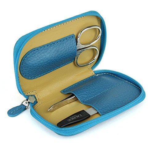 Mini Trousse manucure à Fermeture zippée - Cuir CVG - Turquoise