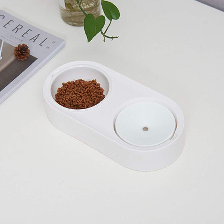Pet Bowl Pet Dog Bowl Double Bowl Not Wet Mouth Hair Bowl Cat Food Bowl Pet Supplies, 33cmX13cmX6.5cm (color   D)