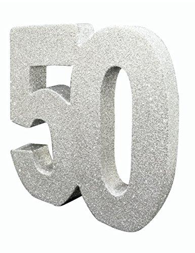 Creative Party- Decorazione da Tavolo in Argento con Numero 50, 1 Pezzo, Glitter Argentato, GR00101395
