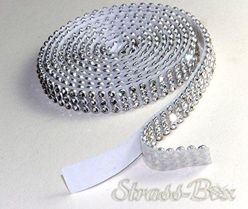 Crystal Mesh Strassband SS8 Borte SELBSTKLEBEND 1cm Breite wählbar 1,15cm lang Strasssteine 3reihig / 10mm x 1150mm