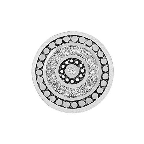 Quiges Damen Click Button 18mm Chunk Versilbert Kristall Zirkonia für Druckknopf Zubehör