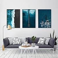 自由奔放に生きる海の波キャンバス絵画クジラファッション海景プリント写真現代の壁の写真リビングホームルームの装飾(60x80cm)X3フレームレス