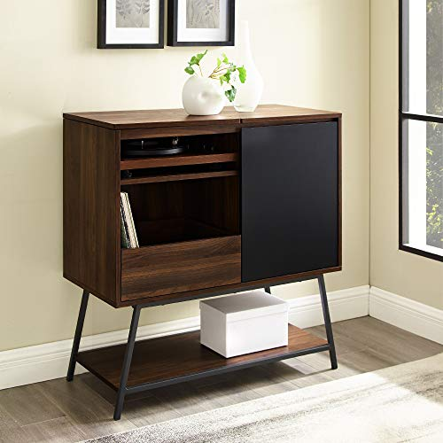 Walker Edison Modern Rectangle Sideboard with Record Player Entryway Serving Storage Cabinet Doors Dining Room Console, 30 Inch, Dark Walnut
