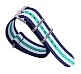 18 millimetri blu/bianco/verde di alta qualità di gusto squisito stile dark NATO nylon comodo cinturino da polso banda orologio da uomo
