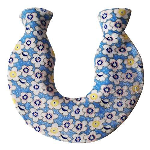 Almabner U-förmiger Nacken- und Schulter-Wärmesack aus PVC, 1400 ml, Korallen-Fleece-Hals-Wärmespeicherung, Warmwasser-gefüllte Flasche, gestrickter Fleece-Bezug