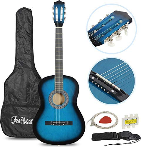 "Smartxchoices 6 String 38"" Acoustic Guitar w/Gig Bag Strap Pitch Pipe Extra Strings Set Pick for Kids Beginners Starter Youths Students Right-handed(Blue)"