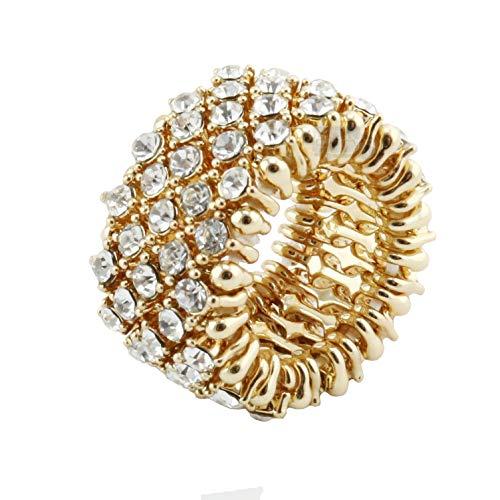 Venury Anello Donna Oro Elegante Taglia Unica Strass Regolabile Elastico