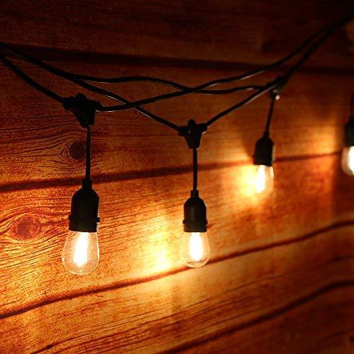 Guirnalda Luces Exterior,Tomshine 14.6M/48FT Cadena de Luces con 15 LED Bombillas,IP65 Impermeable,Guirnalda Luminosa para Fiesta Jardín Decoración(Blanco Cálido)