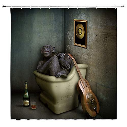 Lustiger Tier-Duschvorhang Affe Gorilla Musiker Somking Wein Gitarre VIP Badewanne inspirieren Inspiration Polyester Badezimmer Dekor Set mit Haken, 180 x 180 cm, schwarz gelb grau