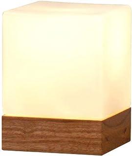 GH-YS Tischlampen mit Glaslampenschirm Holzsockel Einfaches Schlafzimmer Nachttischlicht Ice Cube Schreibtischlampe Nachtl...