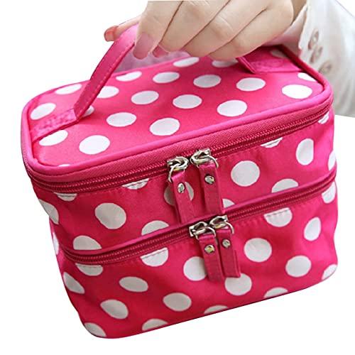 NewIncorrupt Lady Cosmetic Bag Travel Aseo Bolsa de cosméticos Caja de almacenamiento Gran capacidad Bolsa cuadrada de doble capa con cremallera