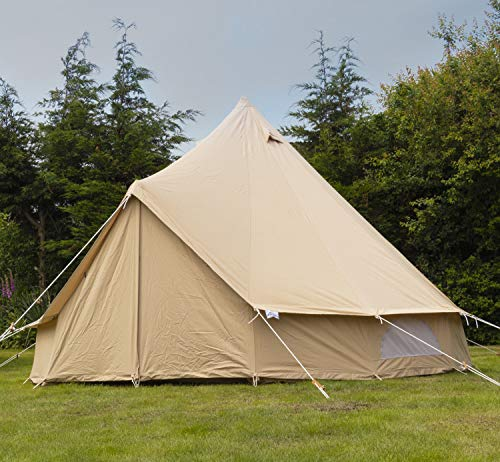 Andes 4m 100% Cotton Canvas Bell Tent With Heavy Duty Zipped In Groundsheet, Camping, Glamping, Festival, Teepee