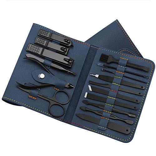 Adaskala 16 Stück/Set Nagelknipser Cutter Trimmer Ohrstöpsel Pflegeset Maniküre Set Pediküre Zehen Nail Art Tools Set Kits mit Tasche