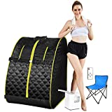 Mauccau Portable Sauna for Home, Personal Steam Sauna Spa for Weight Loss Detox Relaxation, 2.5L Sauna Tent with Foldable Chair Timer Remote Control(Yellow)