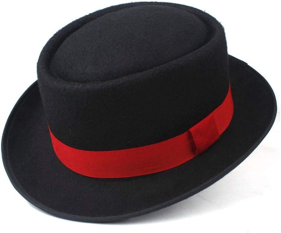 Unisex Men Women Pork Pie Hat with Red Ribbon Pop Jazz Hat Wool Flat Fedora Lady Retro Wide Brim Hat Size 58CM (Color : Dark Blue, Size : 58)