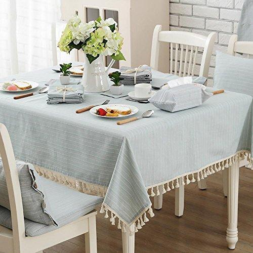 Rectangulaire Nappe de table Toile à franges en lin à rayures Salle à manger de Cuisine , 100*140cm