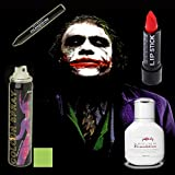 Halloween Joker Makeup Set da 4 – Miss Pouty Bianco Liquido Fondazione, Star Gazer Rossetto rosso, Star Gazer NERO Ombretto piuma Stargazer UV verde Hair Spray adatto per adulti e bambini