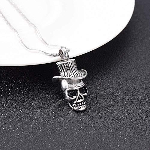 NC520 Cráneo y Sombrero de Vaquero, Caja de Recuerdo, Colgante, Collar, Resto Punk, Esqueleto, Recuerdo, Botella Oculta, Hombre