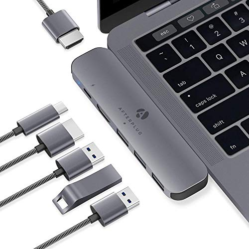Afterplug USB C Hub Adapter, 6-in-1 Type C Hub, with Dual 4K USB C to HDMI, 60W Power Delivery, 3 USB 3.0 Ports, for MacBook Pro 2019/2018/2017/2016, MacBook Air 2019/2018