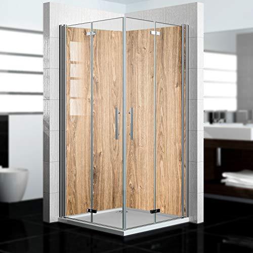 dedeco Eck-Duschrückwand wasserfest mit Holz Motiv - 2 x 90x200 cm, als Badrückwand zum Fliesenersatz, als Dekorwand, Wandverkleidung und Duschplatte aus hochwertigem Aluminium - Made in Germany