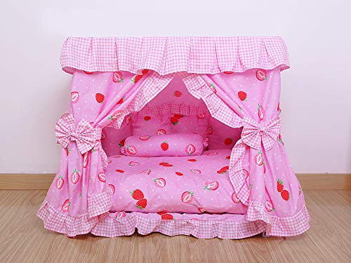 Kolachic Princess Pink Strawberry Pet Dog Cat Handmade Bed House+1 Candy Pillow Canopy (L)