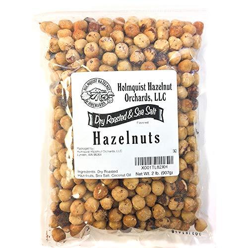 Holmquist Hazelnuts Dry Roasted Hazelnuts | Sea Salt | Skins Mostly Removed | 2 LB Bag