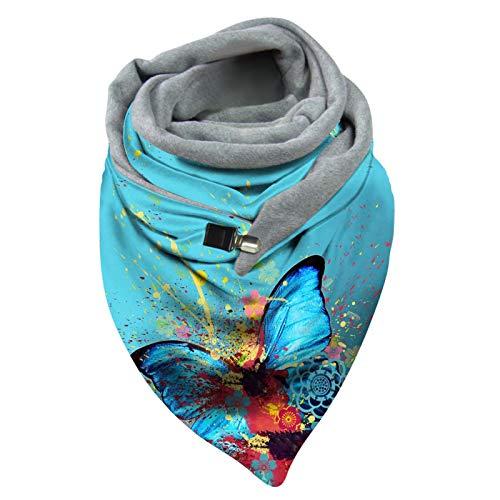 Kobay Schal Damen Schals Winter Baumwolle Warme Dreieckschal mit Knopf Lässige Weich Winterschal Herbstschal